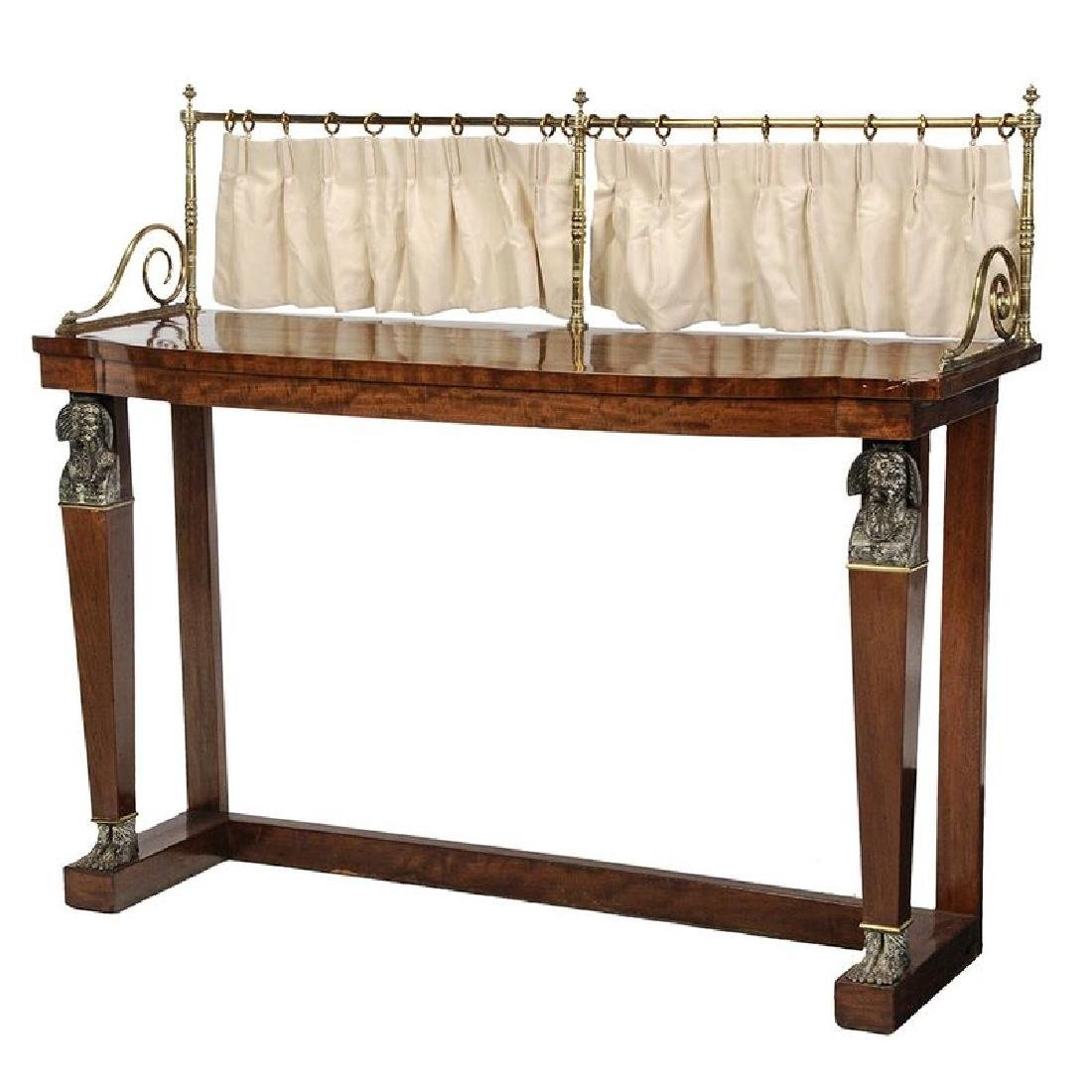 Empire Mahogany and Brass Mounted Pier Table