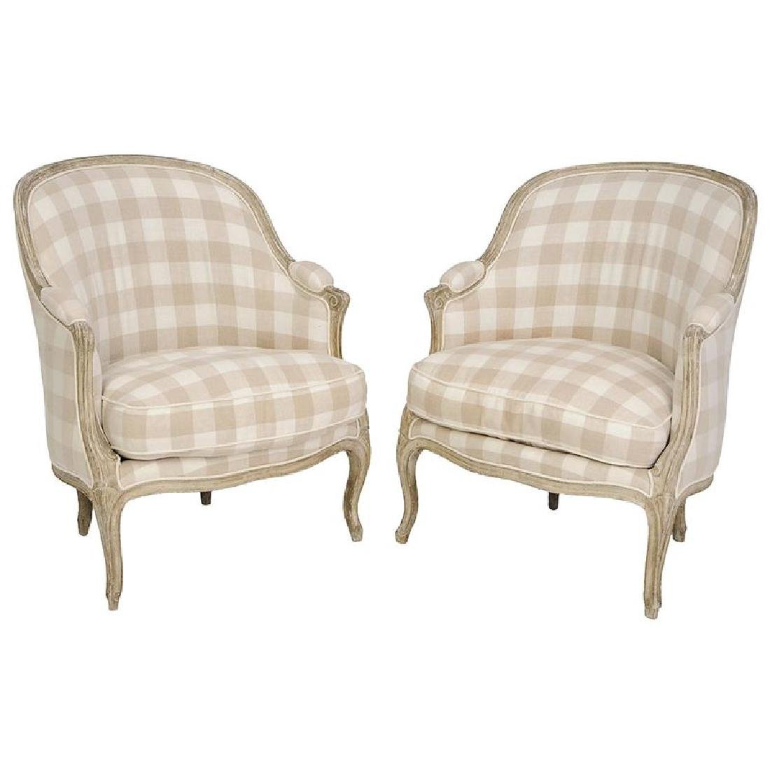 Pair Louis XV Style Carved Upholstered Bergeres