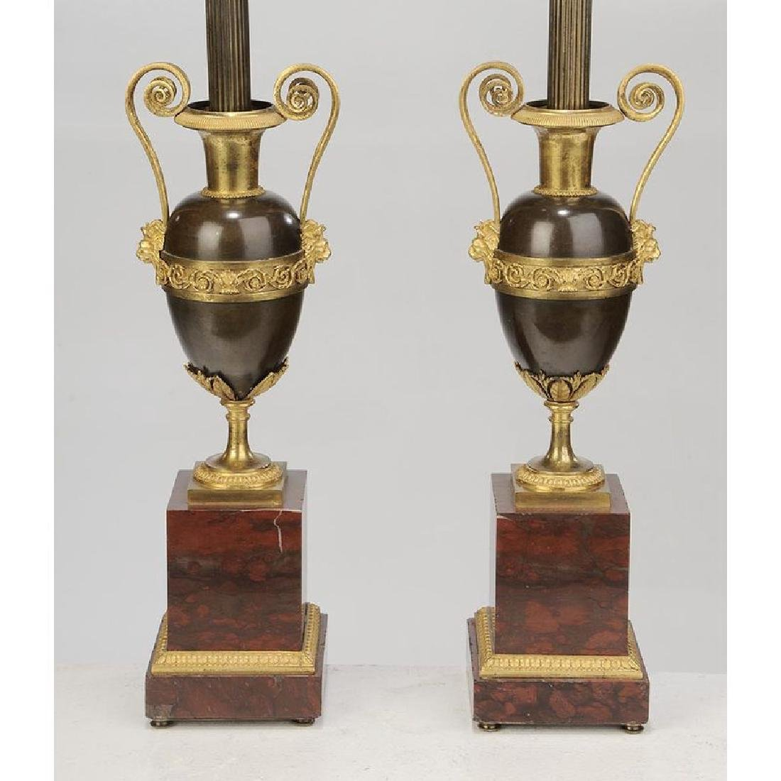 Pair Louis XVI Style Bronze Urns Mounted as Lamps - 3