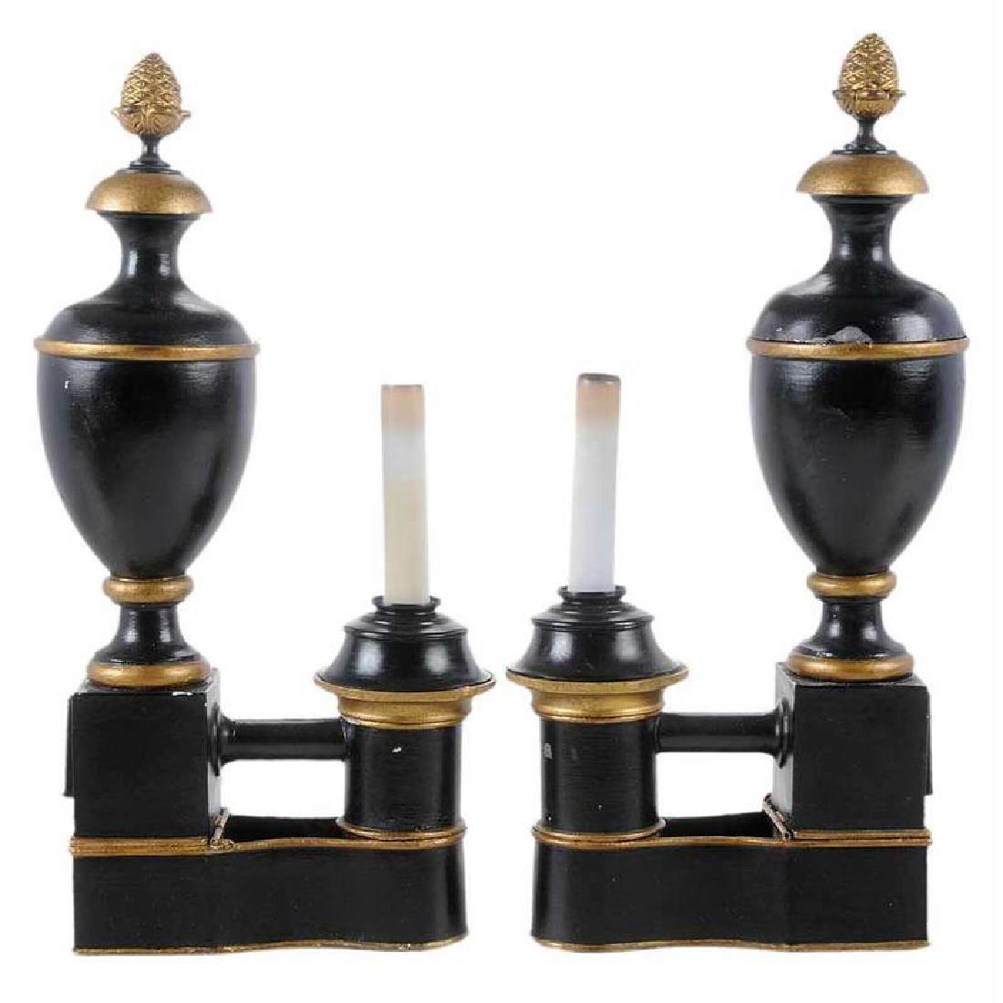 Pair Argand Tole Lamps