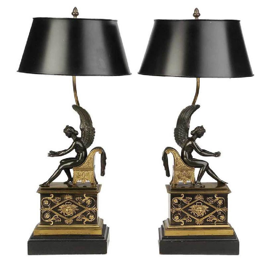 Pair of Empire Chenets Converted to Lamps