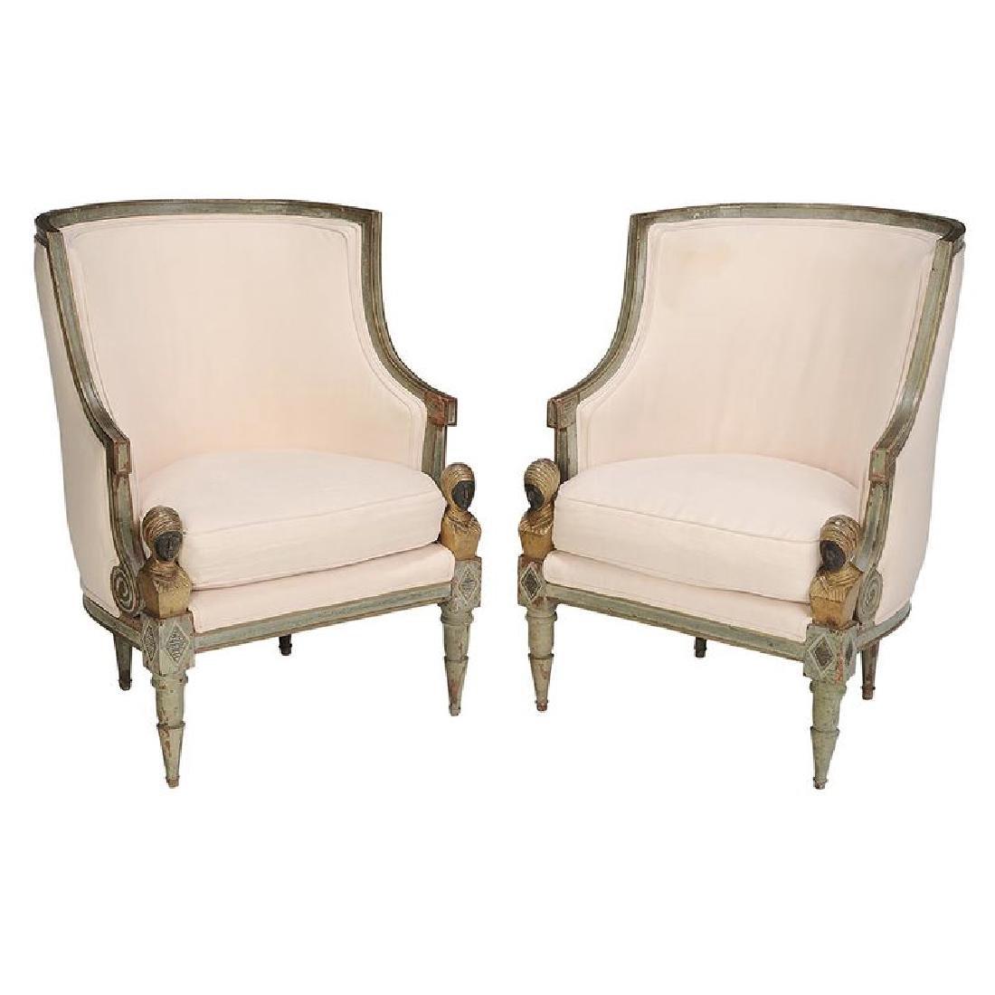 Pair Italian Neoclassical Arm Chairs