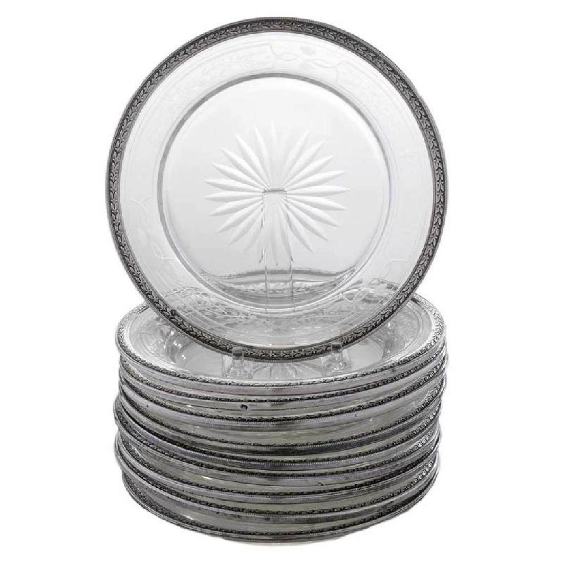 Ten Etched Glass Plates with French Silver Rim