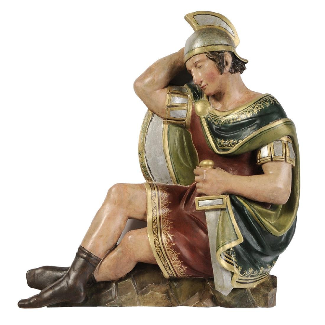 Wood Sculpture Sleeping Roman Soldier