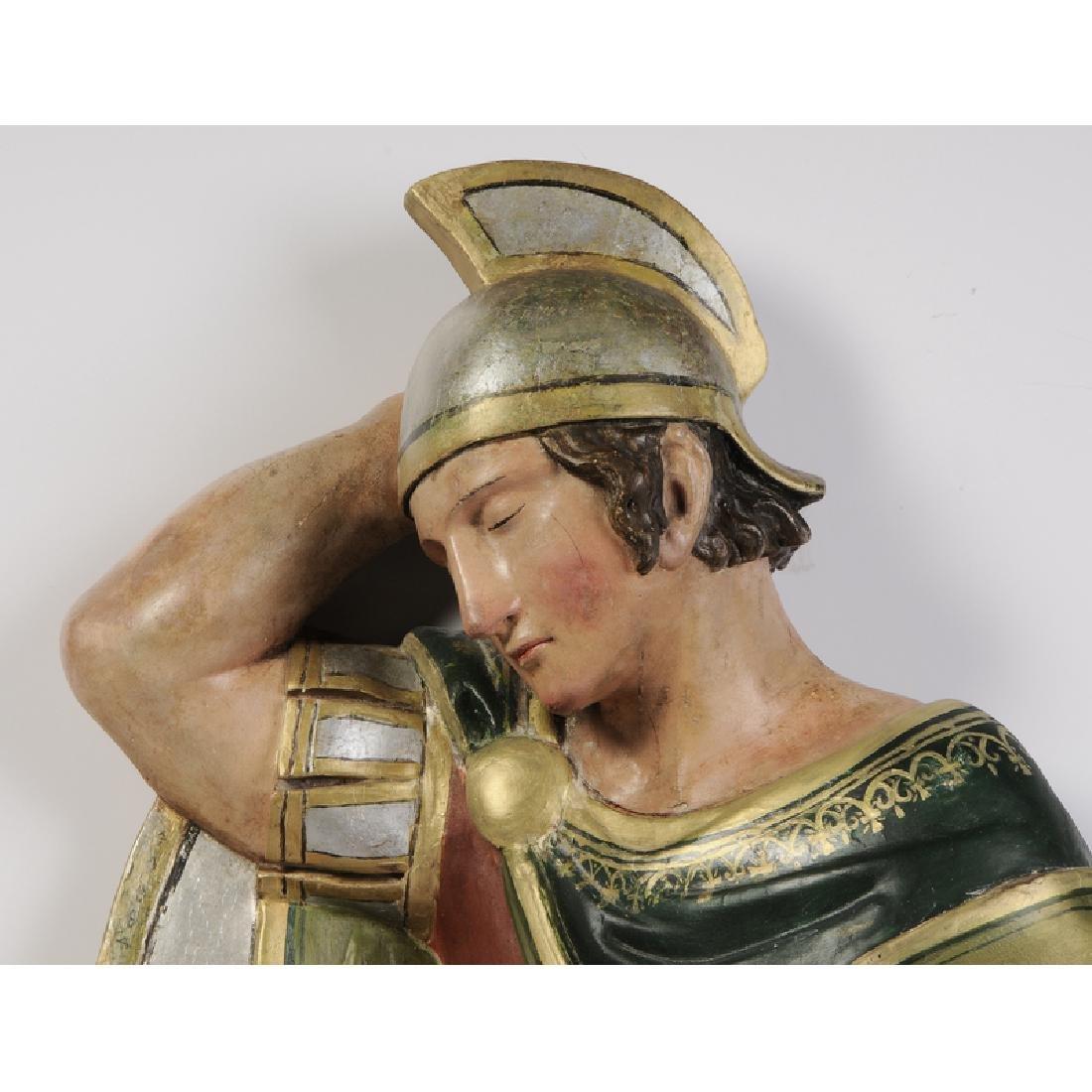 Wood Sculpture Sleeping Roman Soldier - 2