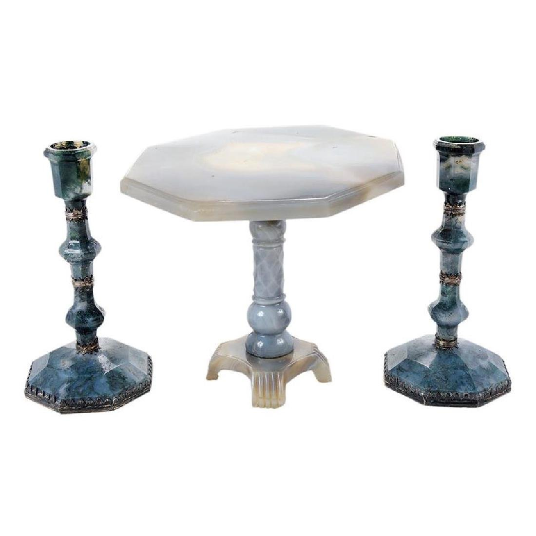 Three Carved Agate Tabletop Articles