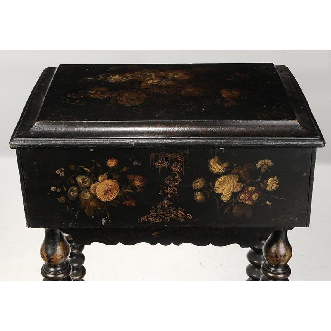 Victorian Lacquered Lift Top Sewing Stand - 4