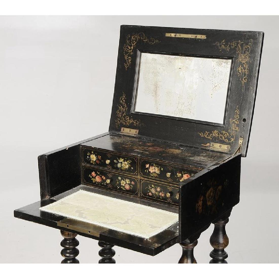 Victorian Lacquered Lift Top Sewing Stand - 5