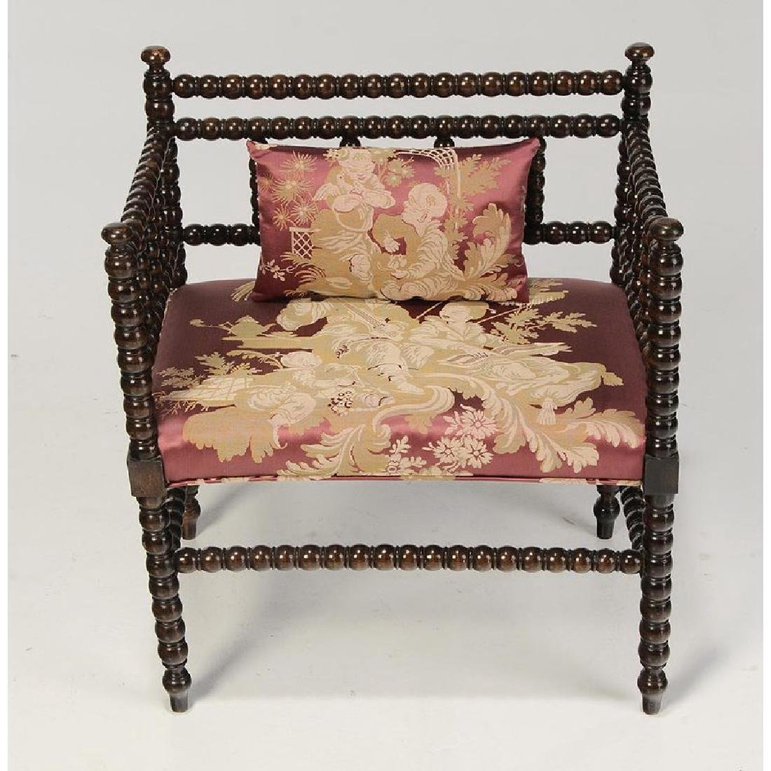 Chinoiserie Arm Chair and Classical Foot Stool - 4