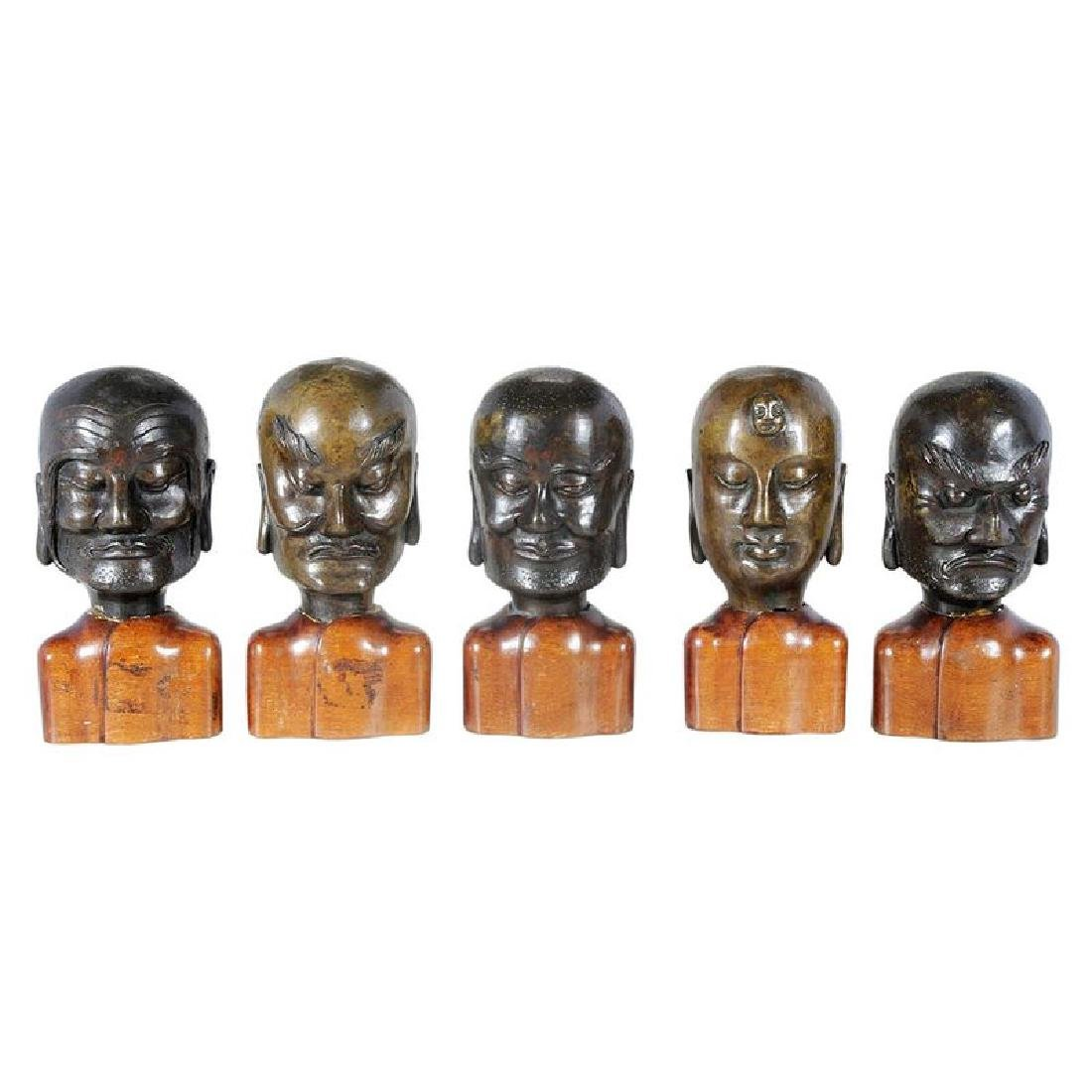 Five Chinese Bronze Heads of Lohan
