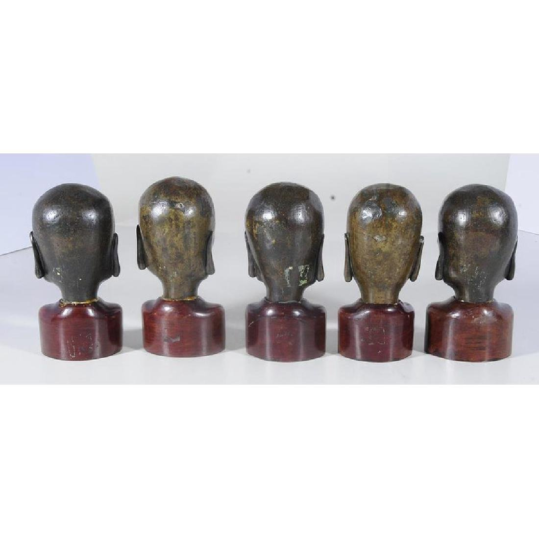 Five Chinese Bronze Heads of Lohan - 2