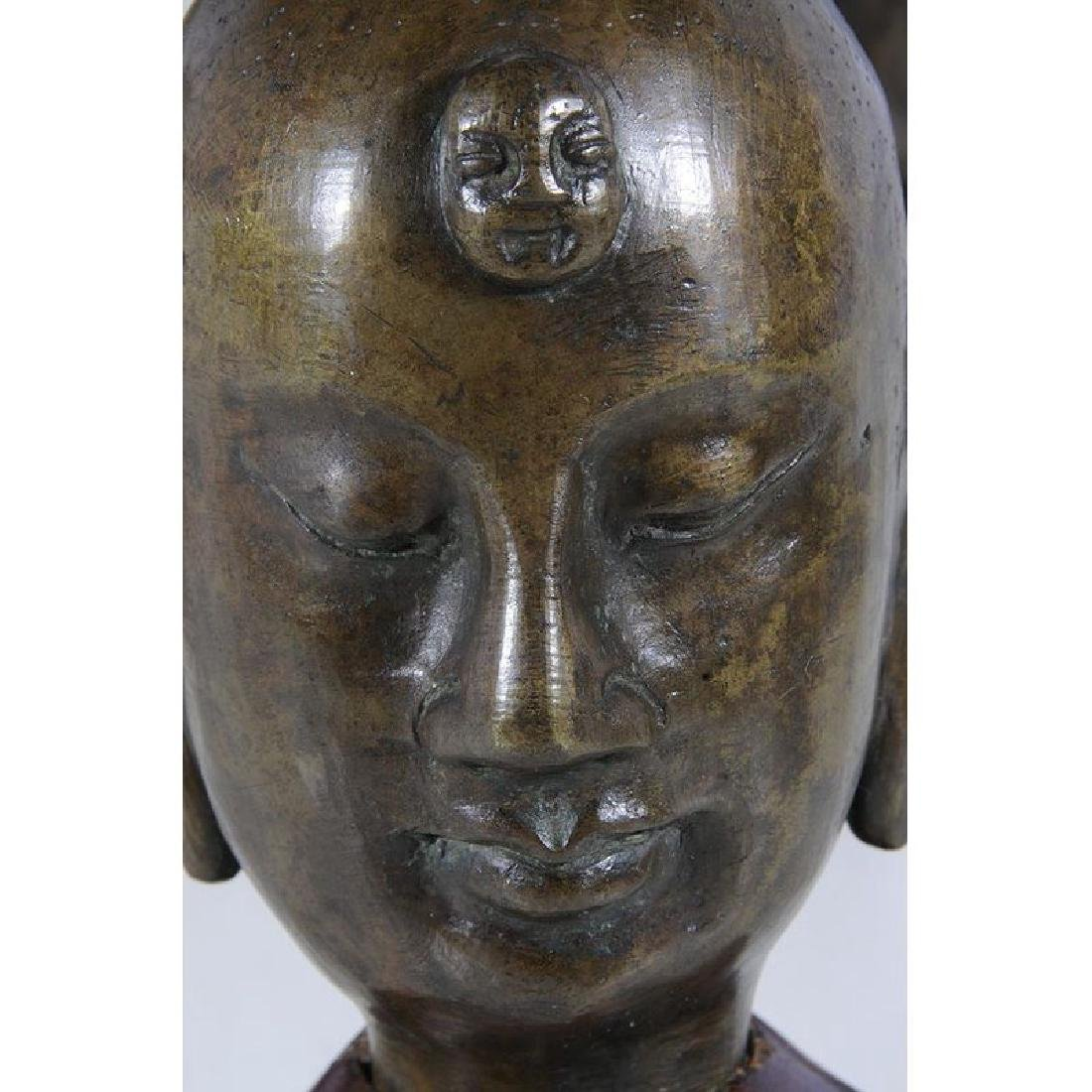 Five Chinese Bronze Heads of Lohan - 3