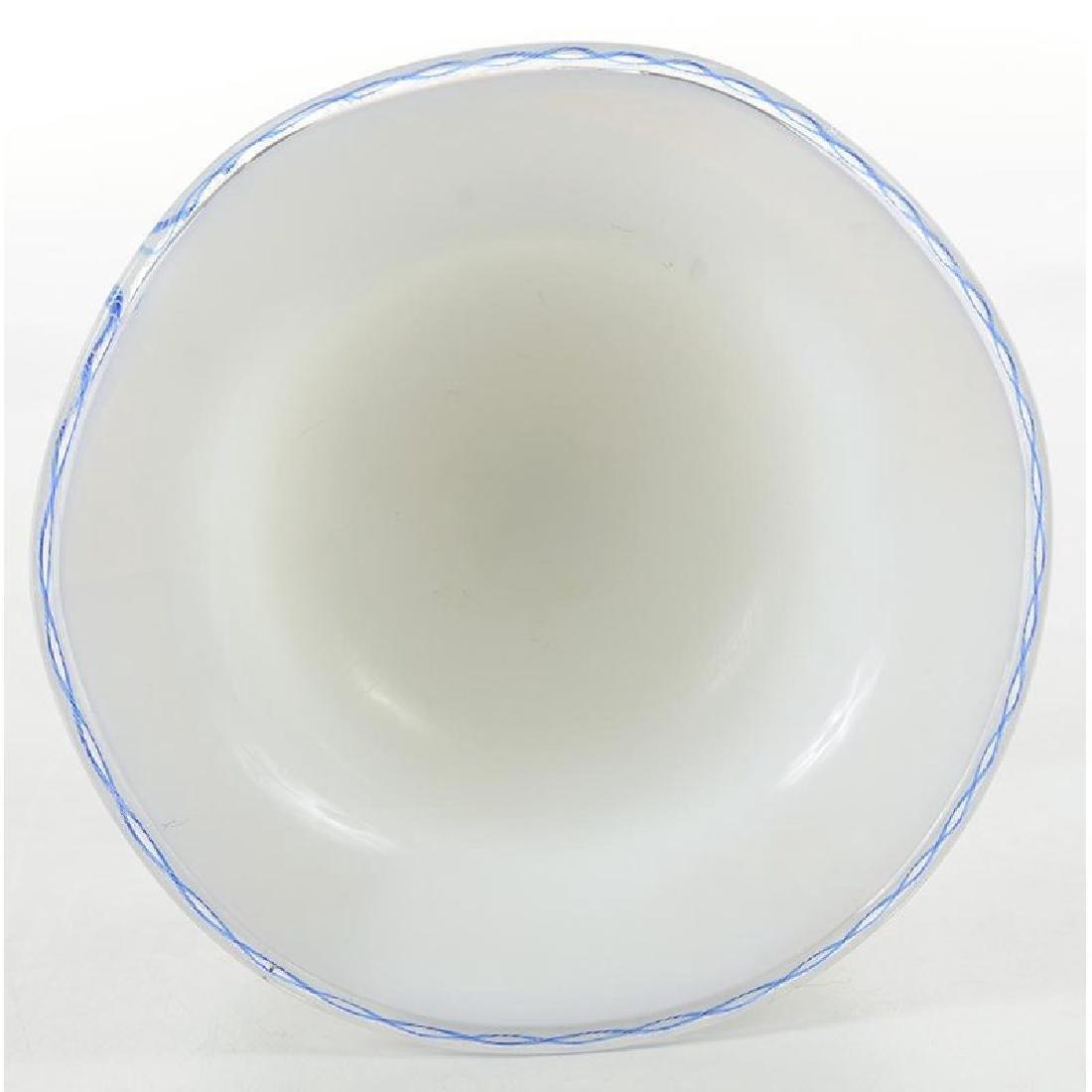 White Opalescent Glass Compote - 2