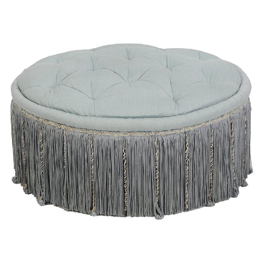 Tufted Upholstered and Tassel Decorated Ottoman