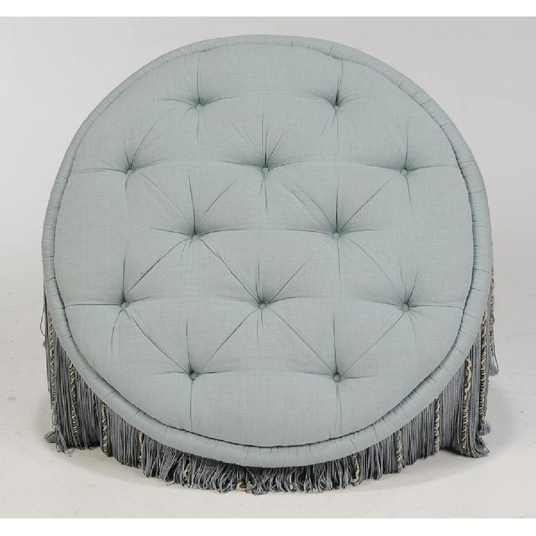 Tufted Upholstered and Tassel Decorated Ottoman - 2