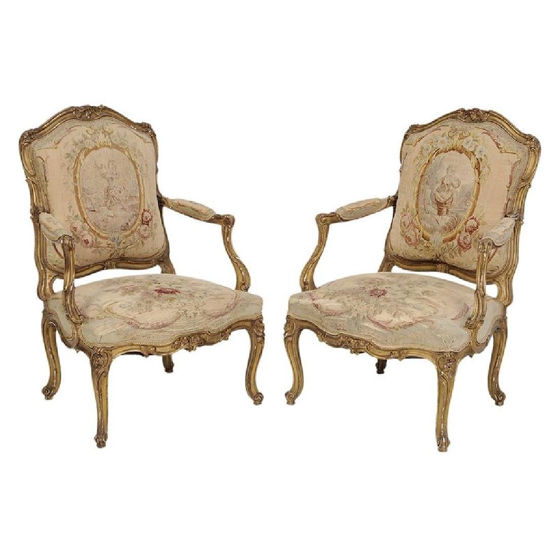 Louis XV Style Carved and Gilt Open Arm Chairs
