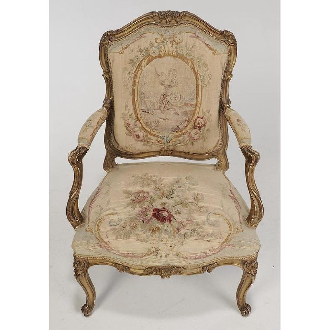 Louis XV Style Carved and Gilt Open Arm Chairs - 3