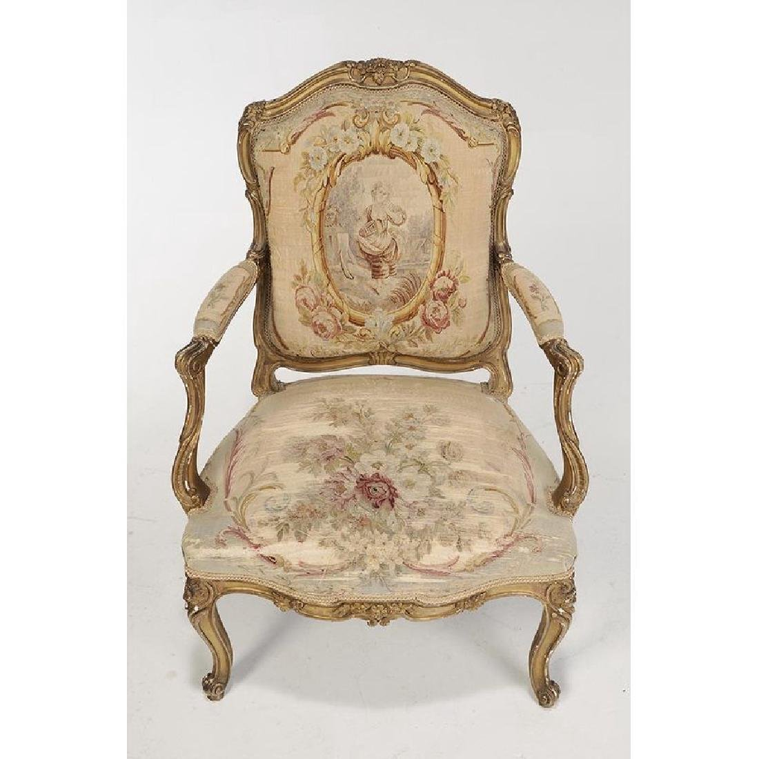 Louis XV Style Carved and Gilt Open Arm Chairs - 4