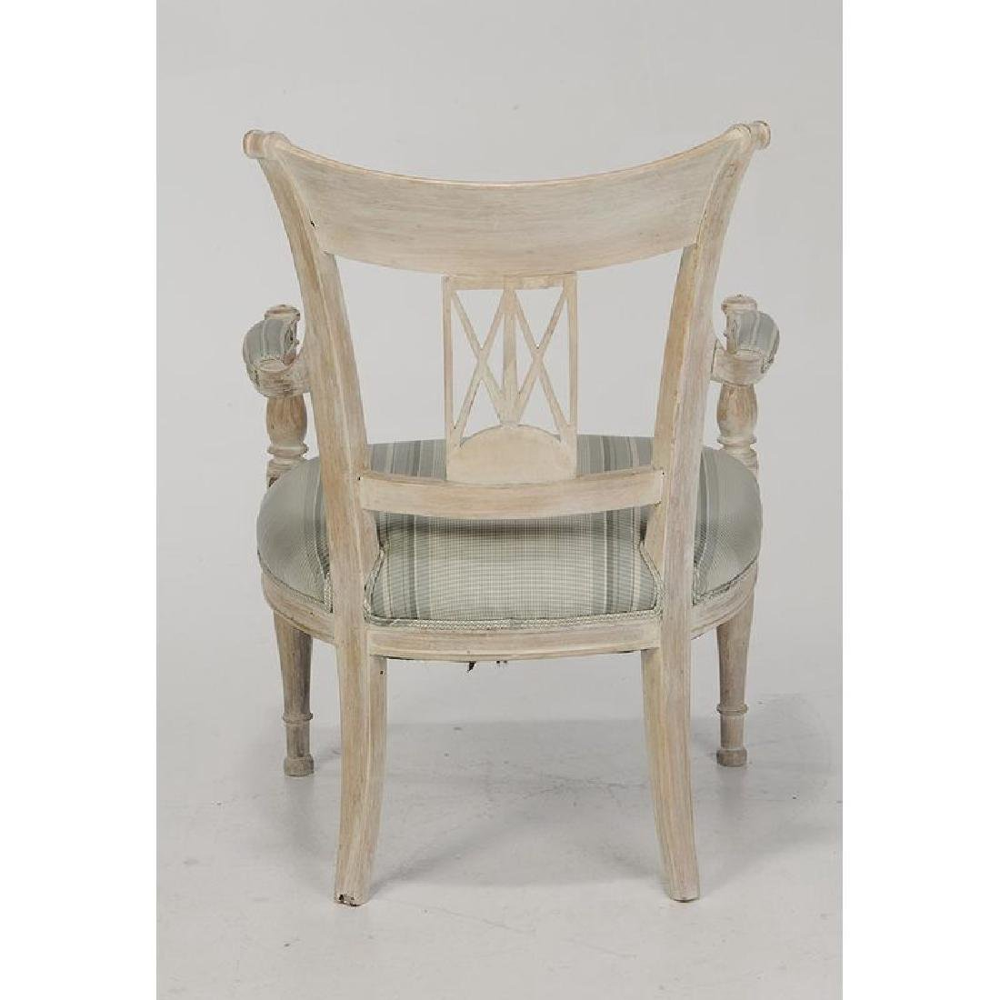 Pair Directoire Style Carved Open Arm Chairs - 2