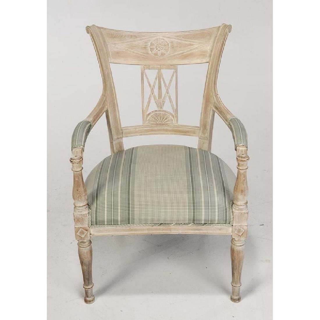 Pair Directoire Style Carved Open Arm Chairs - 3