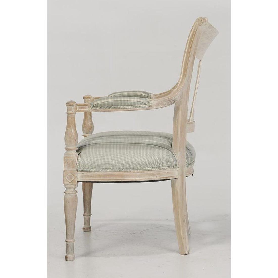Pair Directoire Style Carved Open Arm Chairs - 4