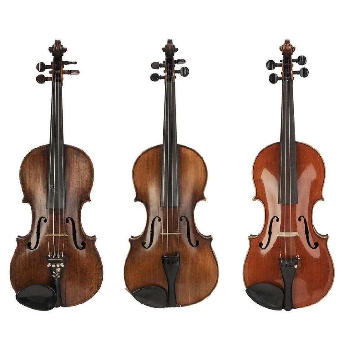 Three Vintage Violins in Cases
