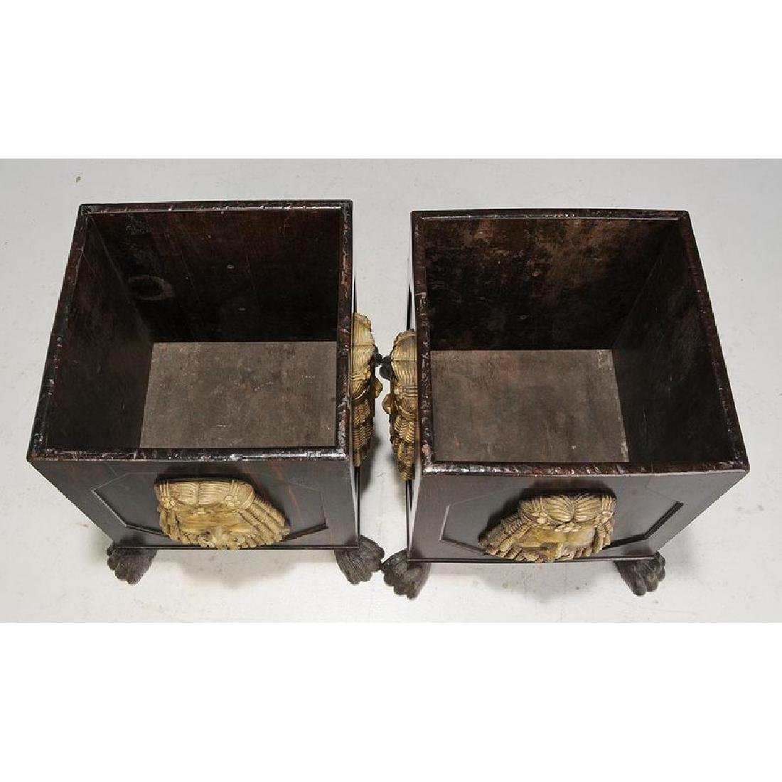 Pair Classical Style Faux Painted Planters - 2