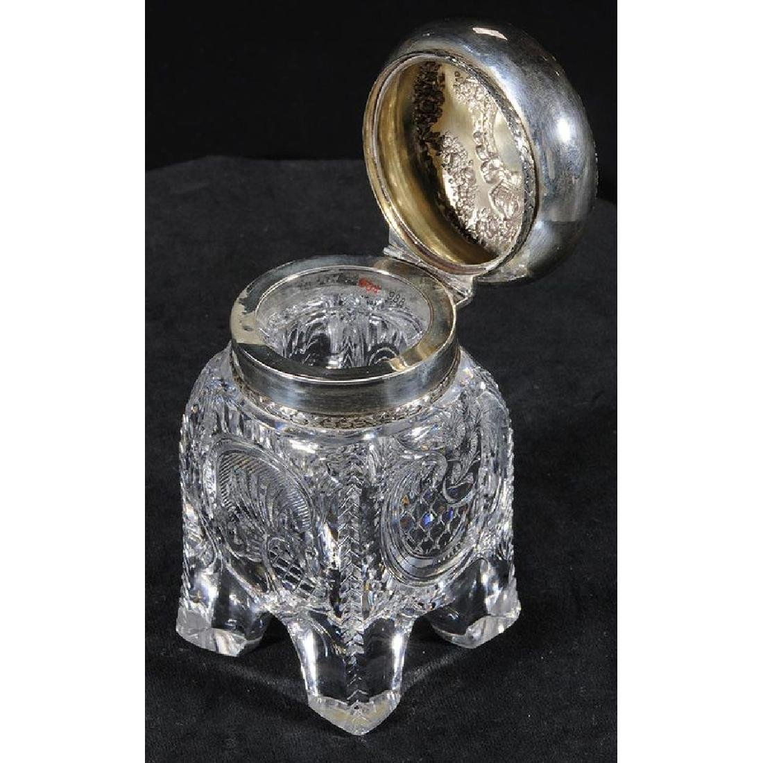 Brilliant Period Cut Glass Inkwell - 2