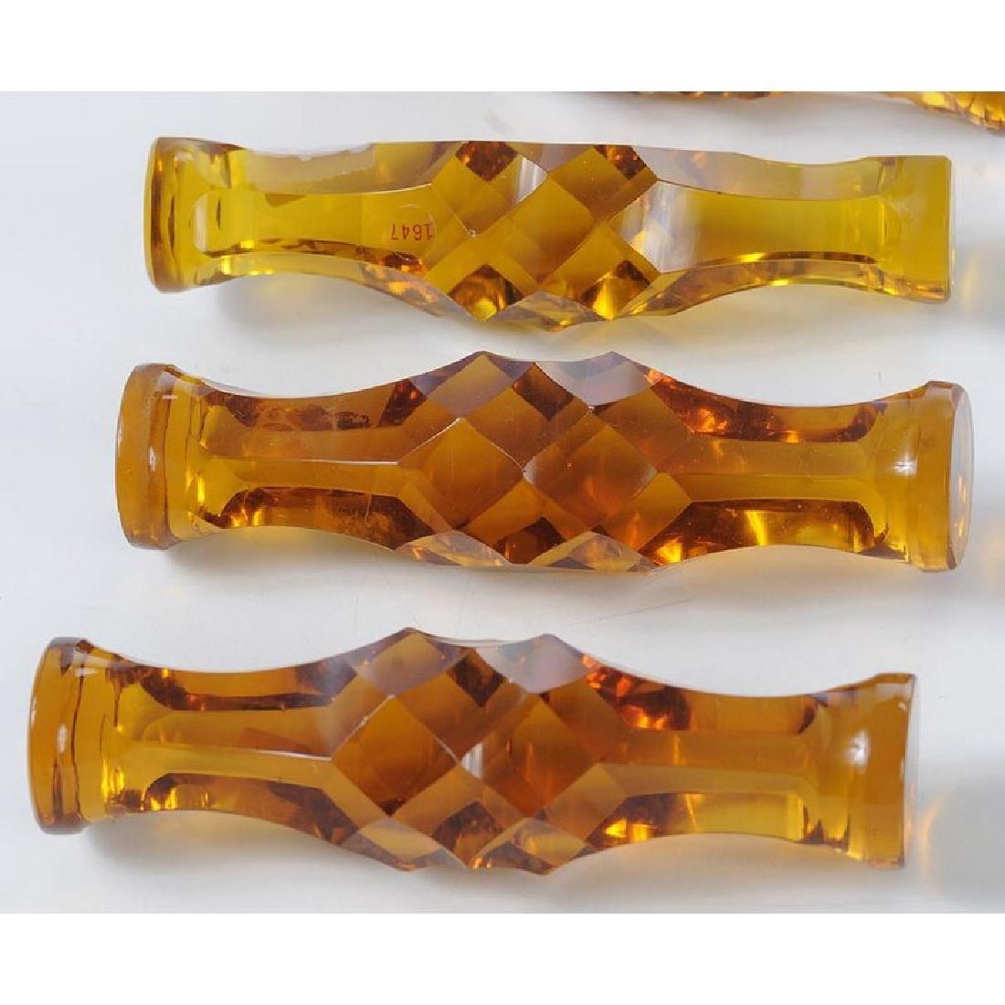 13 Amber Cut Glass Knife Rests - 3