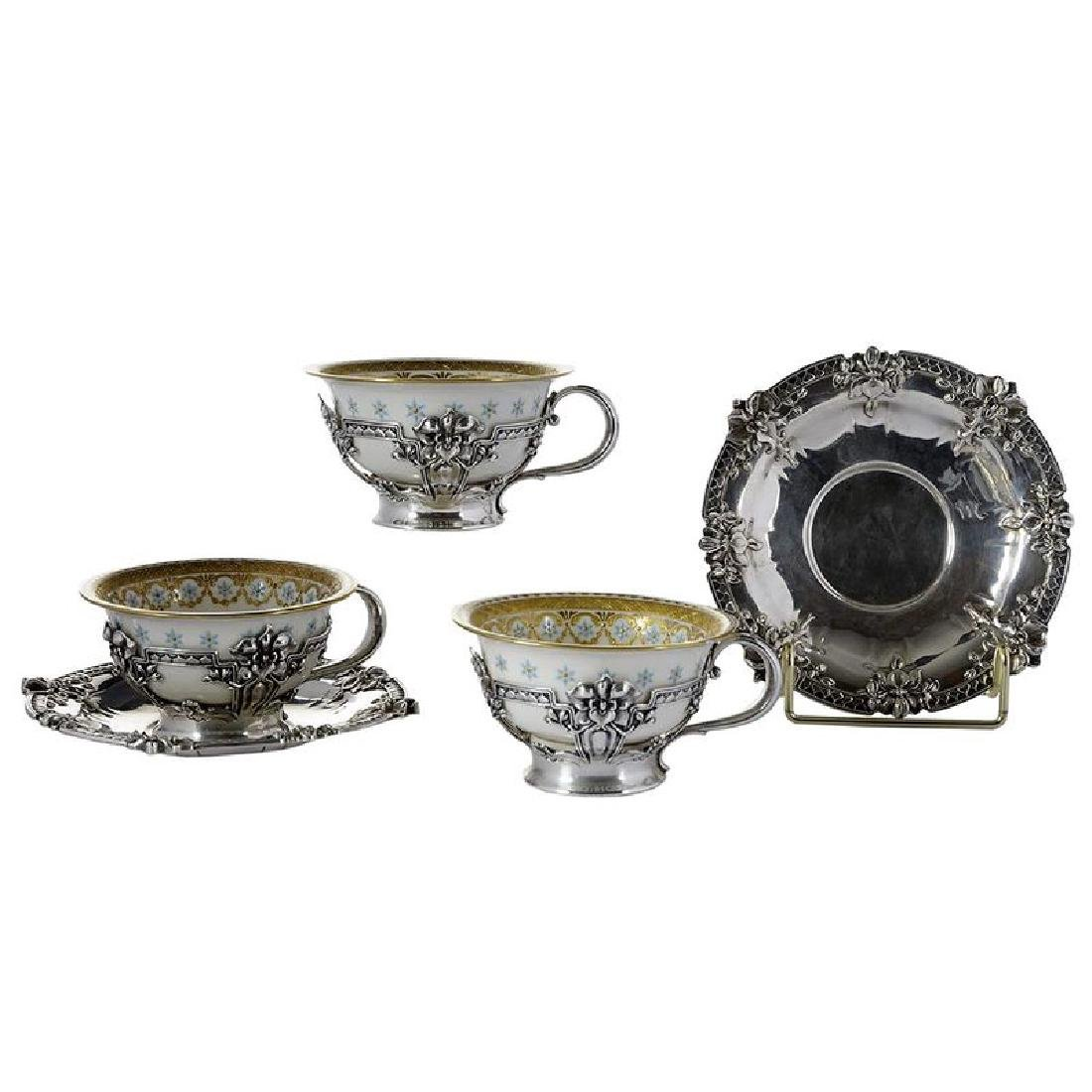 Set of Ten Tiffany Sterling Teacups and Saucers