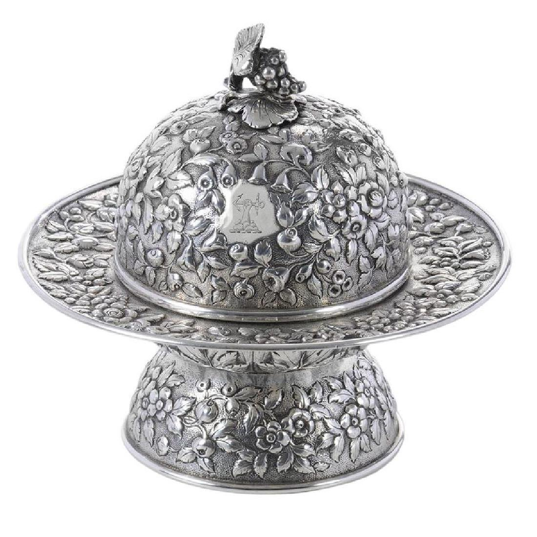 Kirk Coin Silver Butter Dish