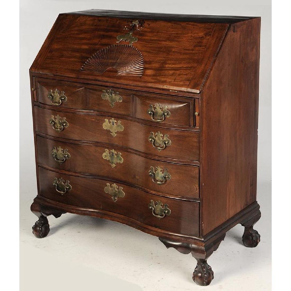 Massachusetts Chippendale Mahogany Desk - 6