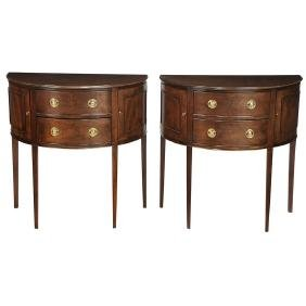 Pair Of George Iii Style Demilune Tables