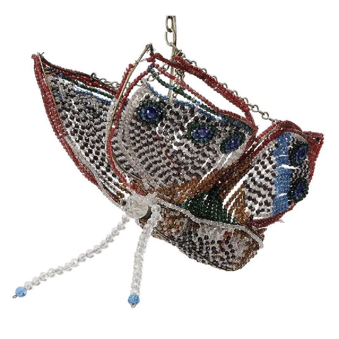 Vintage Glass Bead Butterfly Hanging Fixture