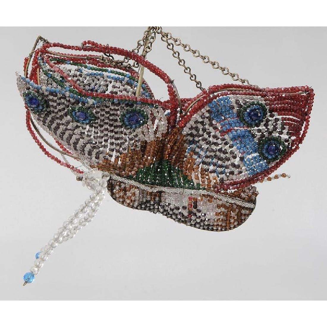 Vintage Glass Bead Butterfly Hanging Fixture - 2