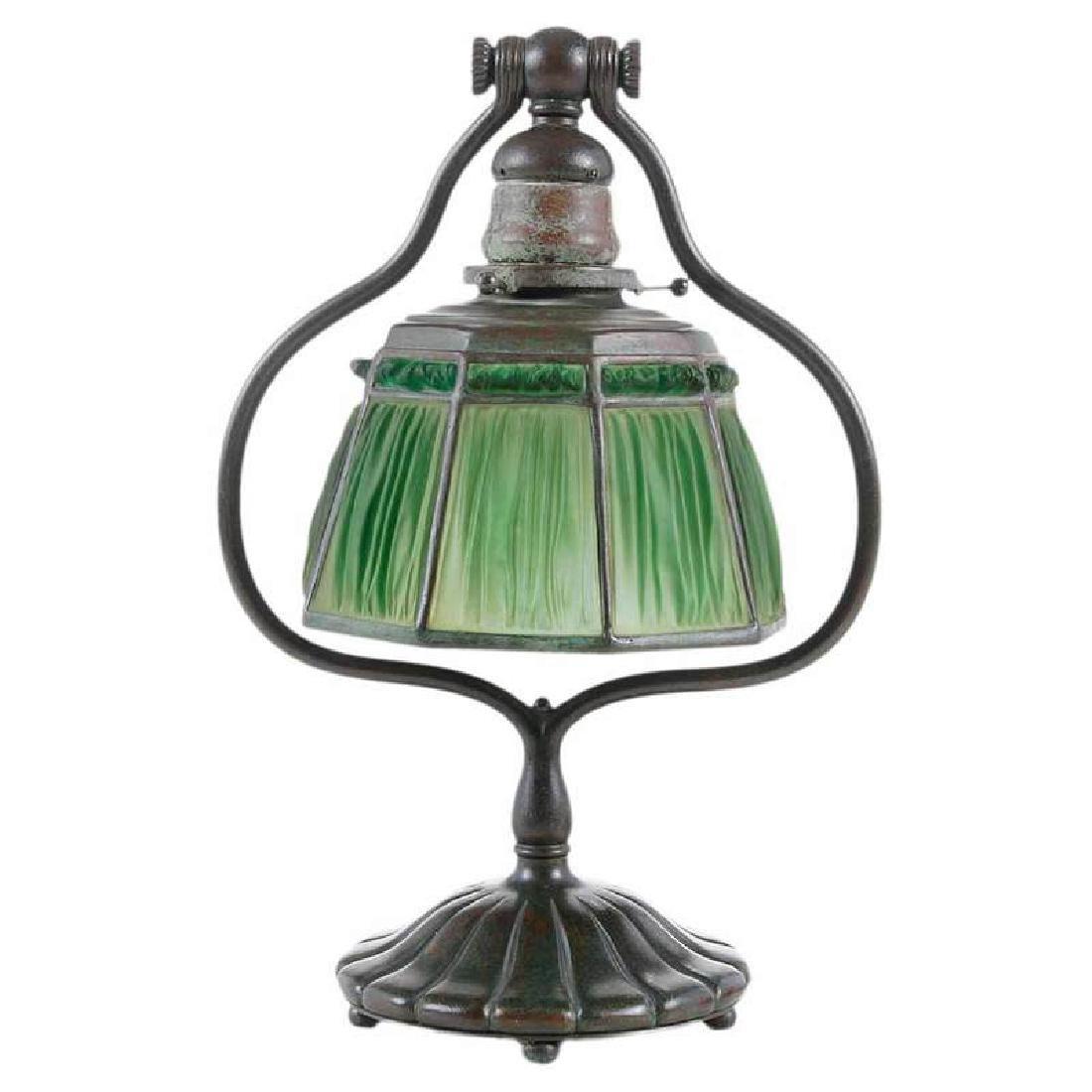 Tiffany Desk Lamp With Linen Fold Shade