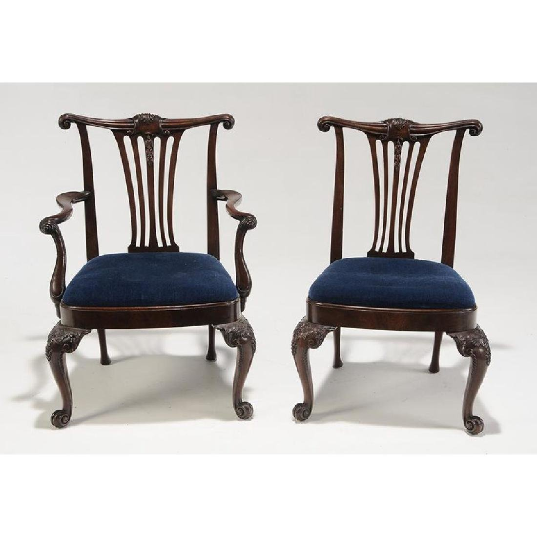 Set of Eight Chippendale Style Mahogany Dining Chairs - 3