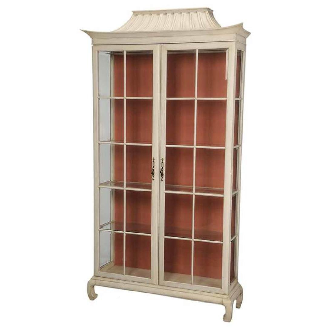Chippendale Style White Painted Vitrine Cabinet