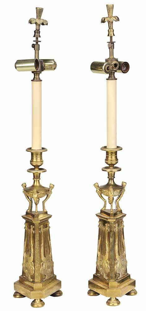 Pair of Bronze Candlesticks Converted To Lamps