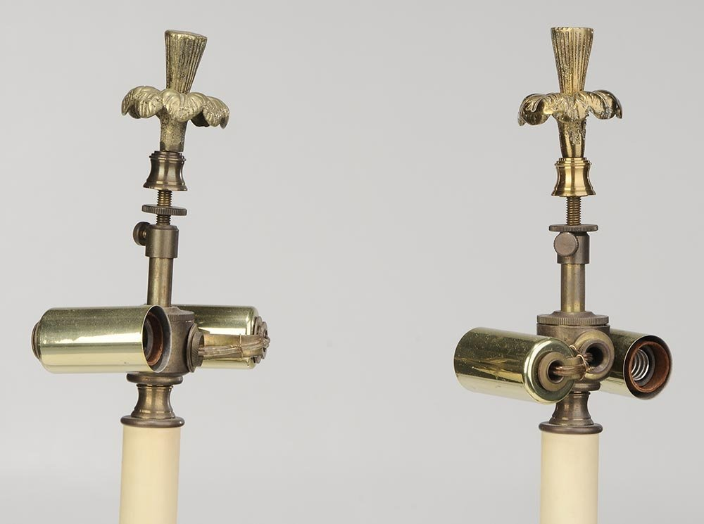 Pair of Bronze Candlesticks Converted To Lamps - 2