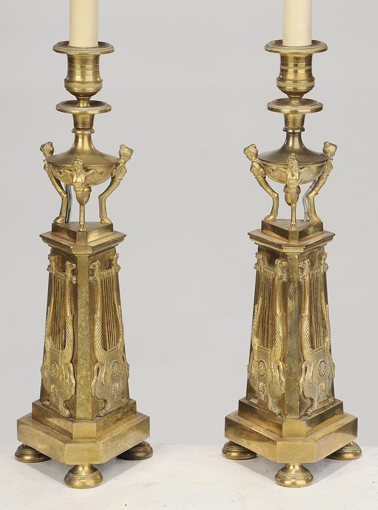 Pair of Bronze Candlesticks Converted To Lamps - 3