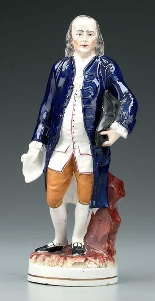 2: Staffordshire figure of Ben Franklin,