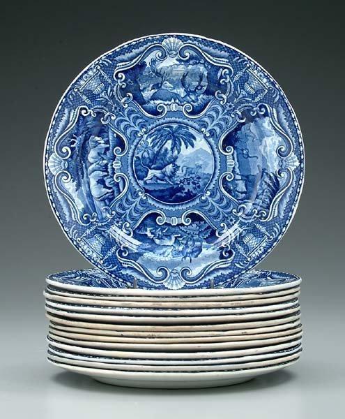 4: 14 blue transferware plates: