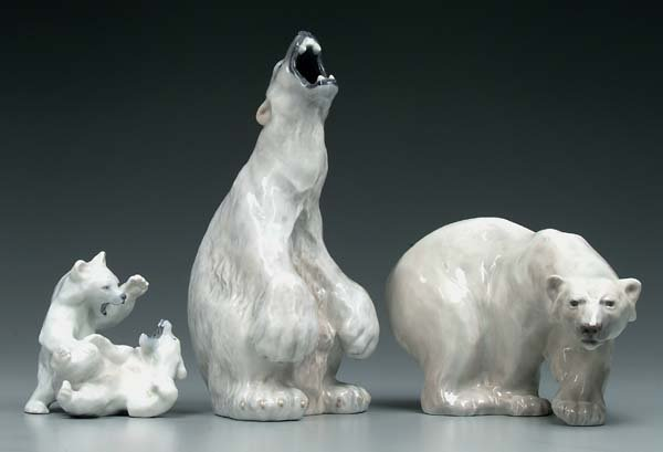 8: Three Royal Copenhagen polar bears: