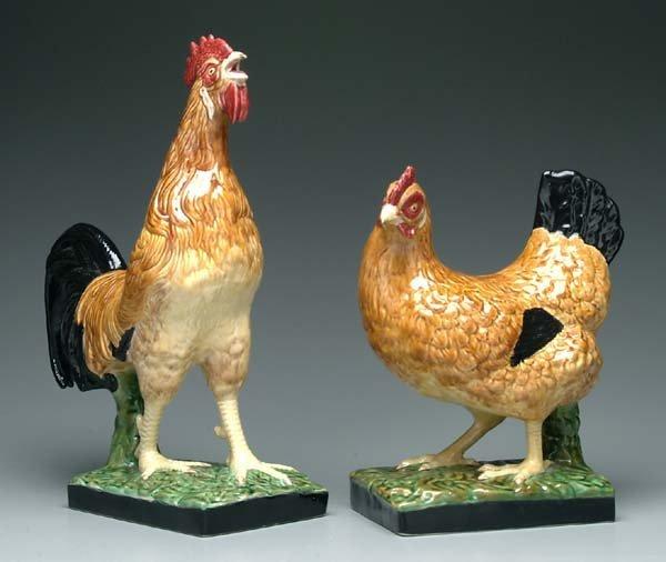 9: Pair ceramic chickens: