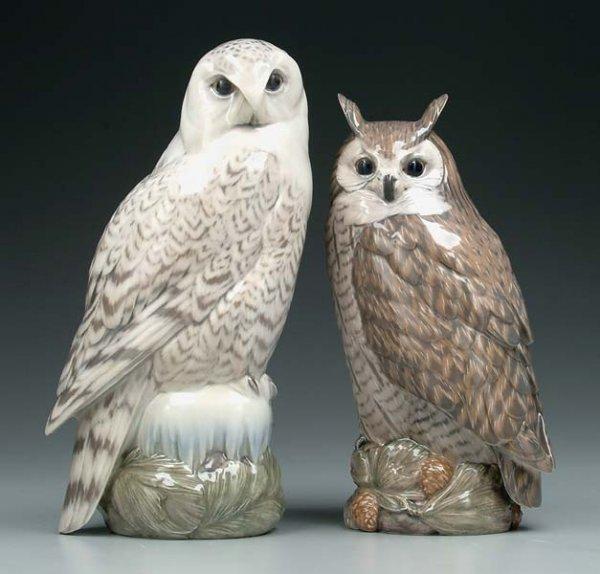10: Two Royal Copenhagen owls: