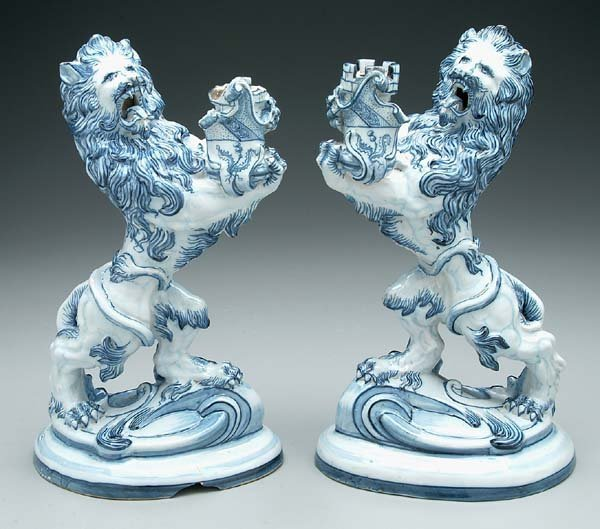 11: Pair Gallé ceramic candleholders: