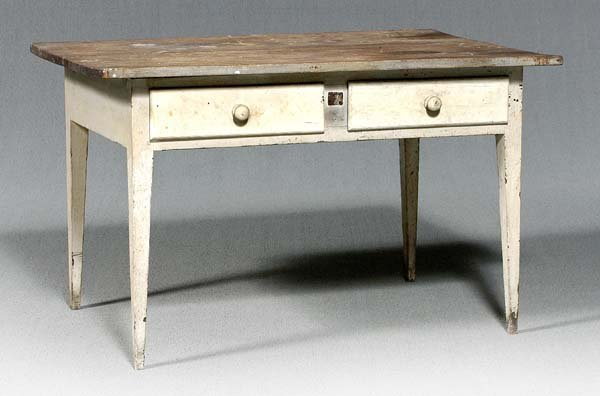 13: Southern two drawer country table,