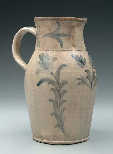 20: Cobalt decorated stoneware pitcher,