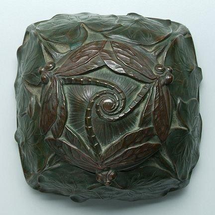 165: Tiffany bronze dragonfly desk set:
